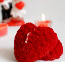 heart shape rose candle